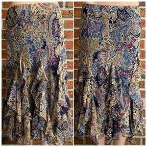 NWT Lauren Ralph Lauren 100% Silk Ruffle Skirt M
